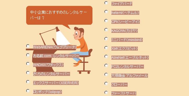 中小企業におすすめのレンタルサーバーアンケート投票